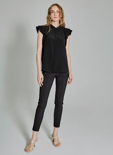 People By Fabrika Kolları Volanlı Gömlek Siyah